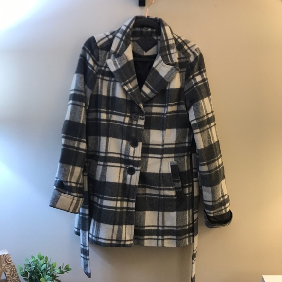 Belted Grey and white checked Peacoat